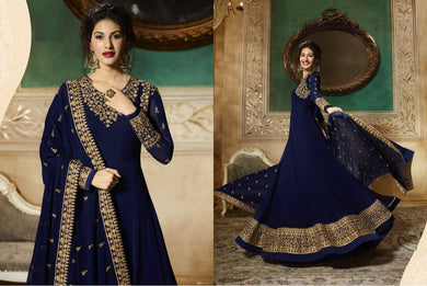Colourful Navy Blue Heavy Georgette Coding + Sequince Work With Long Anarkali Suit