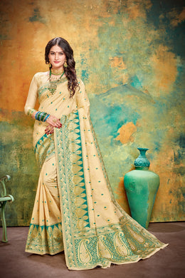 Colorfull Cream & Green Kanchipuram Silk Hand Woven Work With Lovely Saree