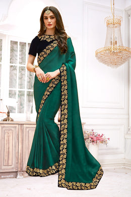 Delightful Sea Green Vichitra Silk Embroidered Work With Good Looking Saree