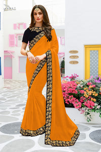 Valuable Soft Yellow Vichitra Silk Embroidered Work With Fancy Saree