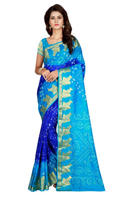Beading Sky Blue Taffeta Silk Handicrafts Bandhani Work With Awesome Saree