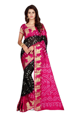 Admirable Stand Black & Pink Taffeta Silk Handicrafts Bandhani Work With Awesome Saree