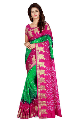 Beautifully Parrot & Pink Taffeta Silk Handicrafts Bandhani Work With Awesome Saree