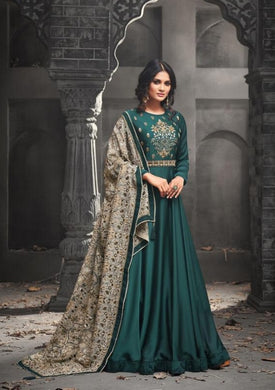 Artful Sea Green Heavy Rapid Fire Embroidery Work With Long Anarkali Suit