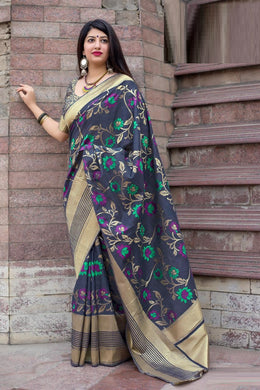 Classicist Navy Blue Mahakant Silk Heavy Hand Woven Work With Superb Saree