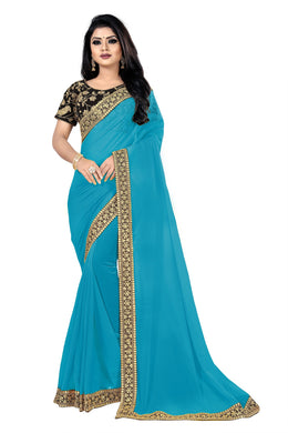 Camouflage Mirth Sky Blue Georgette Sequance & Thread Work With Trendy Saree