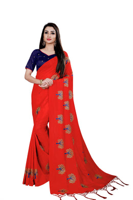 Beautiful Red & Blue Paper Silk Embroiderd Hand Woven Work With Superb Saree