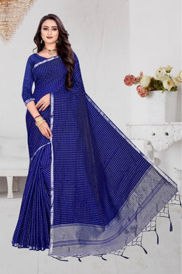 Choosen Look Blue Cotton Silk Hand Woven Work With Superb Saree