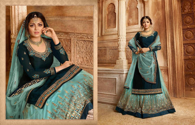 Charming Novel Sky Blue Satin Georgette Embroidery Work With Transparent Suit