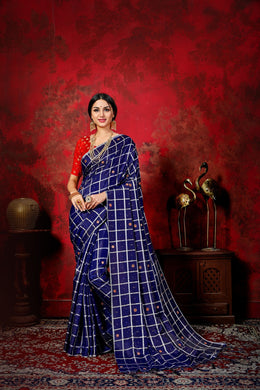 Amazing Navy Blue & Red Sana Silk Mirror Chex Box Patti Work With Lovely Saree
