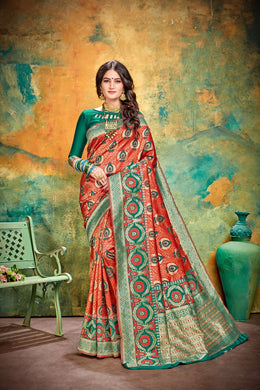 Kaizen Look Orange & Green Cotton & Jequard Silk Hand Woven Flower Print Work With Lovely Saree