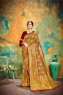 Charismastri Collection Maroon Banarasi Silk Traditional Print Work Smooth Saree