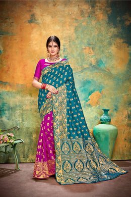 Marvelous Blue & Pink Banarasi Silk Kanjivaram Work Smooth Saree