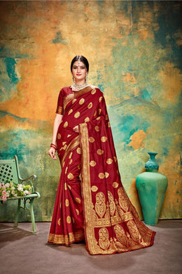 Awesome Maroon Banarasi Silk Traditional Print Work Smooth Saree