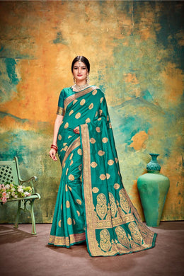 Delightful Sea Green Banarasi Silk Traditional Print Work Smooth Saree