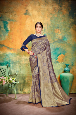 Beautiful Navy Blue Jacquard Silk Traditional Print Work Smooth Saree