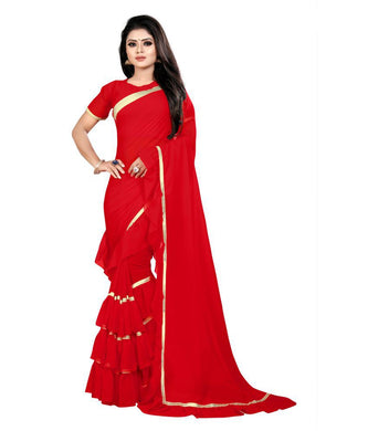 Congenial Red Georgette Ruffle Plain Work With Noble Saree