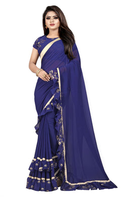 Divine Navy Blue Georgette Ruffle Elephant Woven Print Work With Noble Saree