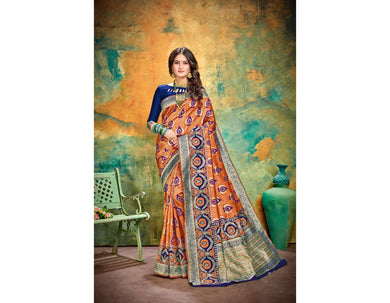 Morden Look Orange Cotton & Jequard Silk Hand Woven Flower Print Work With Lovely Saree