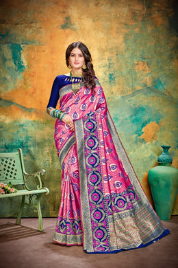 Trendy Designer Pink Cotton & Jequard Silk Hand Woven Flower Print Work With Lovely Saree