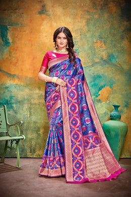 Casual Style Blue Cotton & Jequard Silk Hand Woven Flower Print Work With Lovely Saree