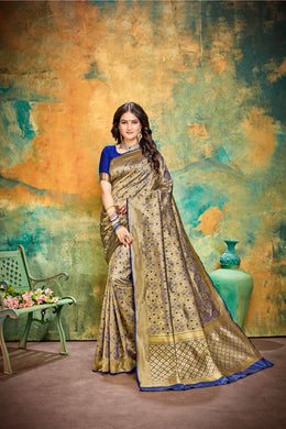 Capable Look Navy Blue Jacquard Silk Traditional Print Work Dreamy Saree