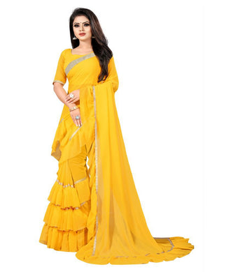 Caring Creative Yellow Georgette Ruffle Plain Work With Noble Saree