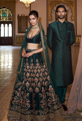 Out-of-this-world Bottle Green Bridal Ruby Silk Heavy Dori Embroidered Work With Lahenga Choli