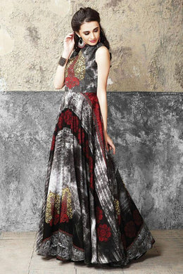 Desire Imposing Look Grey & Multi Maslin Cotton Digital Printed Work With Long Gown