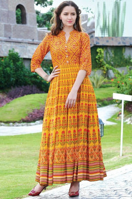Gracefully Orange Maslin Cotton Digital Printed Work With Long Gown