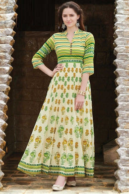 Gorgeous Style Green Maslin Cotton Digital Printed Work With Long Gown