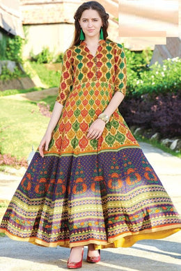 Delightfully Multi Maslin Cotton Digital Printed Work With Long Gown