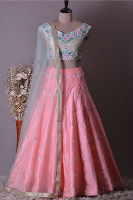 Engagging Style Baby Pink Galaxy Malai Satin Heavy Embroidery Work With Lahengha Choli
