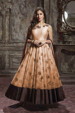 Effulgent Naive Peach Thai Silk Heavy Hand Work With Stylist Long Gown