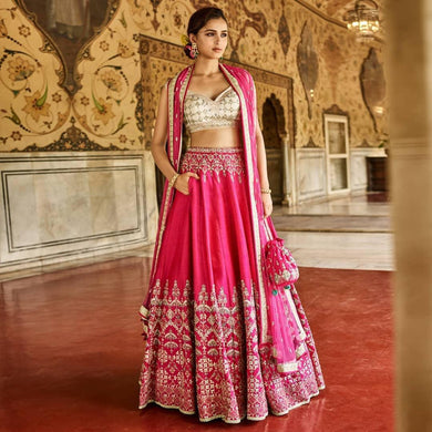 Defect-less Mazenta Pink Banarasi Silk Heavy Embroidery Work With Modest Lahengha Choli