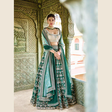Sensational Look Bottle Green Galaxy Malai Satin Heavy Embroidery Work With Modest Lahengha Chol