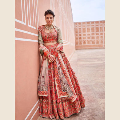 Rousing Superb Baby Orange Galaxy Malai Satin Heavy Embroidery Work With Modest Lahengha Choli