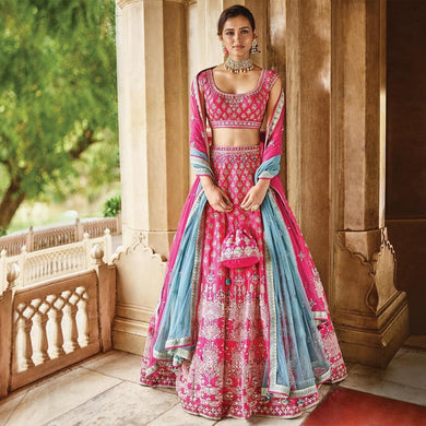Graced Fallow Light Pink Galaxy Malai Satin Heavy Embroidery Work With Modest Lahengha Choli