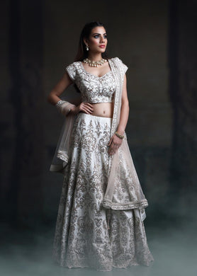 Fancy Flouncy Off-white Galaxy Malai Satin Heavy Embroidery Work With Modest Lahengha Choli