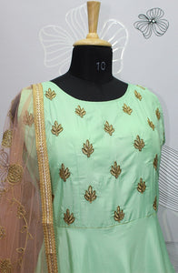 Breathtaking Designer Parrot Green Silk Hand Work With Long Gown