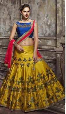 Engagement Wear Yellow Thai Silk Copper Metalic Foil  Work With Lahengha Choli