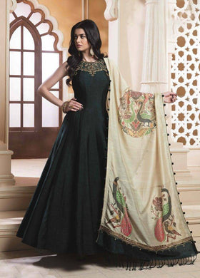 Ostentatious Pine Green Bright Silk Heavy Hand Work With Stylist Long Gown