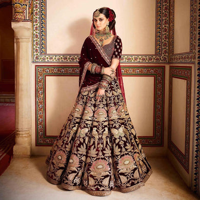 5c4af5b6f38 Trendsetting Ultimate Maroon Velvet Heavy Embroidered Work With Engaging  Lahengha Choli