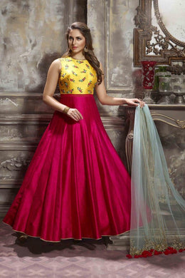 Cutness Lovbale Yellow & Pink Thai Silk Heavy Hand Work With Stylist Long Gown