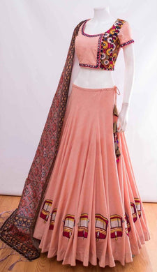 Beguiling Pretty Rose Pink Thai Silk Heavy Embroidered Work With Engaging Lahengha Choli