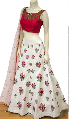 Accomplished Pearl White Mastani Silk Heavy Embroidered Work With Engaging Lahengha Choli