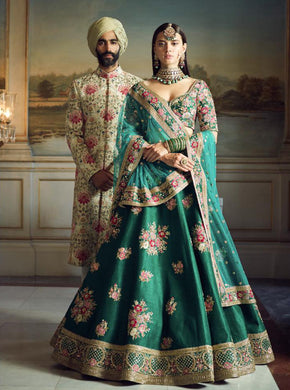 Accomplished Teal Green Phantom Silk Heavy Embroidered Work With Engaging Lahengha Choli