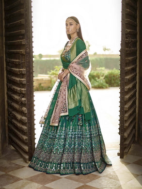 Pre-eminent Green Ruby Silk + Heavy Embroidery Work With Lahengha Choli