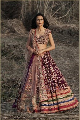 Favorite Fashioner Wine Galaxy Malai Satin + Heavy Embroidery Work With Lahengha Choli