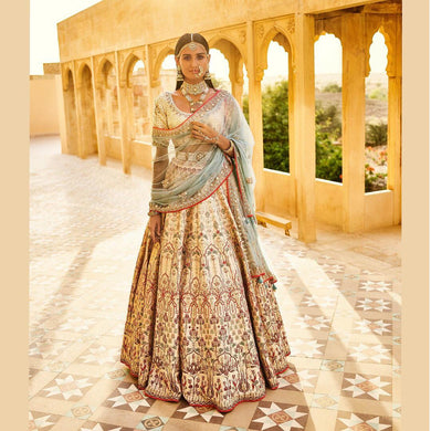 Geometrical Looking Cream Bridal Zill Mill Silk Heavy Embroidery Work With Lahengha Choli